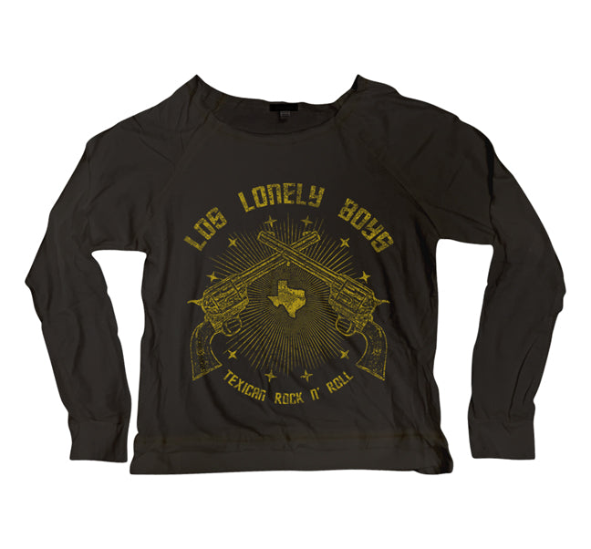 "Los Lonely Boys ""Texican Rock'n'Roll"" women's long sleeve black scoop neck t-shirt"