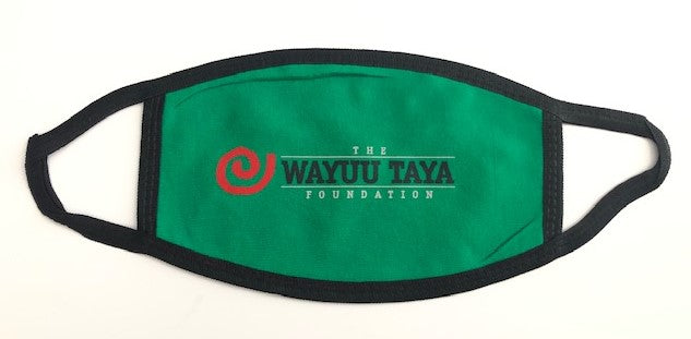"Wayuu Taya ""Logo"" Reusable and Washable Anti-Germ and Pollution Mask Cover in Green"