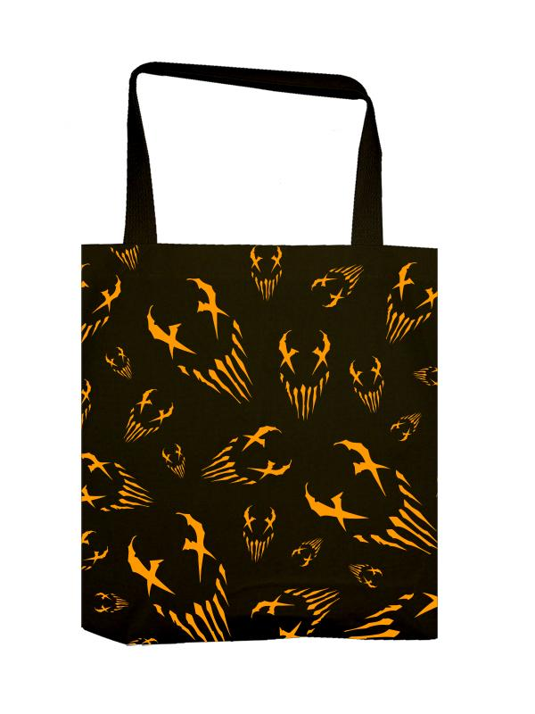"Mushroomhead ""X Face"" allover orange print tote bag"