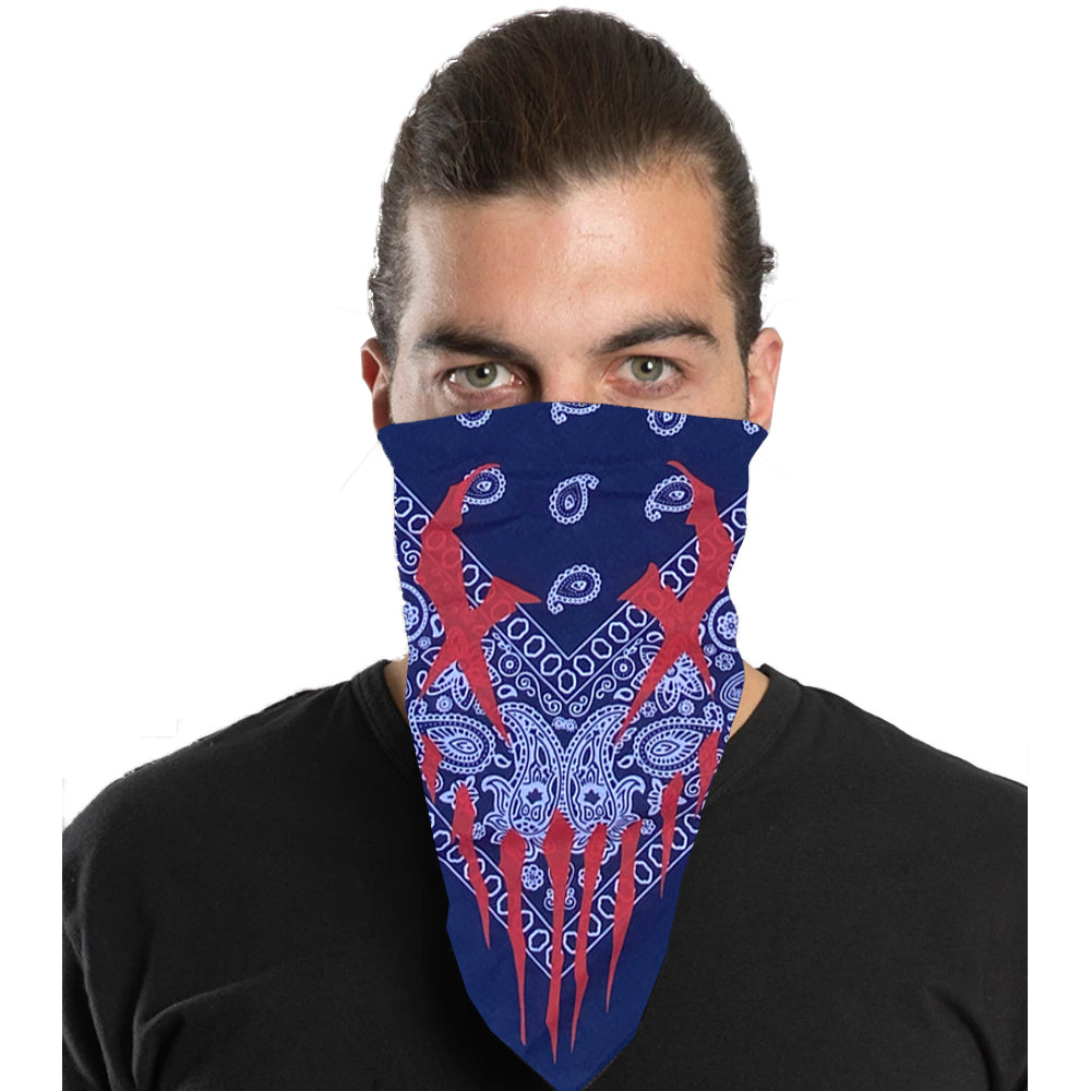 "Mushroomhead ""X-Face"" Bandana in Navy Paisley"