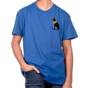 "Patricia Velasquez ""Egyptian Cat"" Kids T-Shirt in Blue"