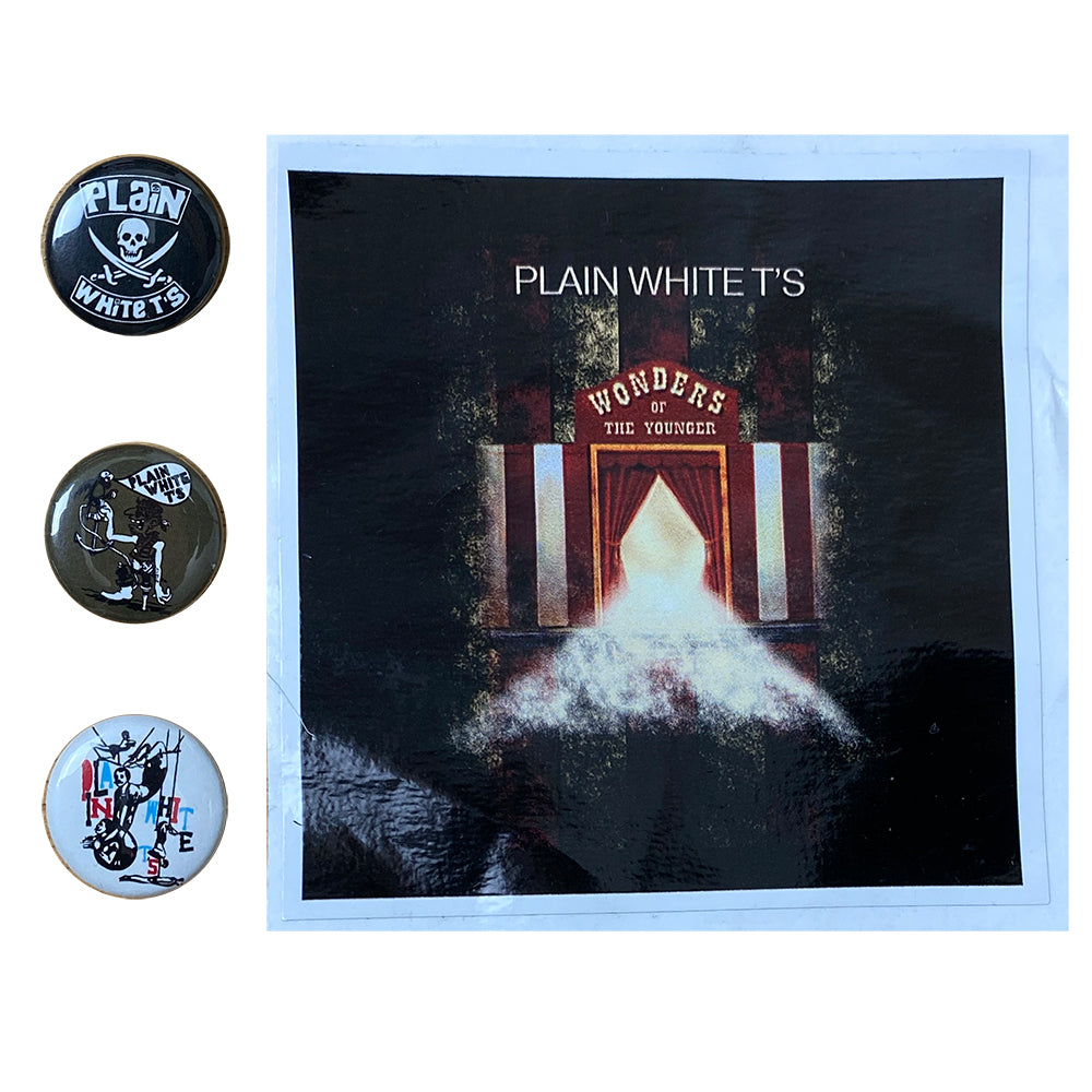 "Plain White T's ""Wonders Of The Younger"" Sticker And Pin Set"