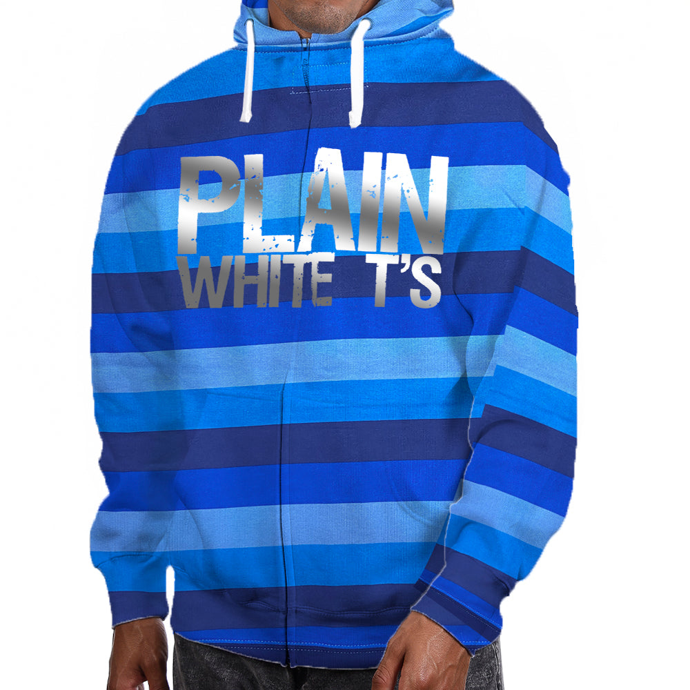 "Plain White T's ""Silver Foil Logo"" Zip Hoodie In Blue Stripe"