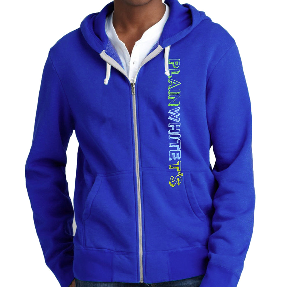 "Plain White T's ""Vertical Logo"" Zip Hoodie In Blue"