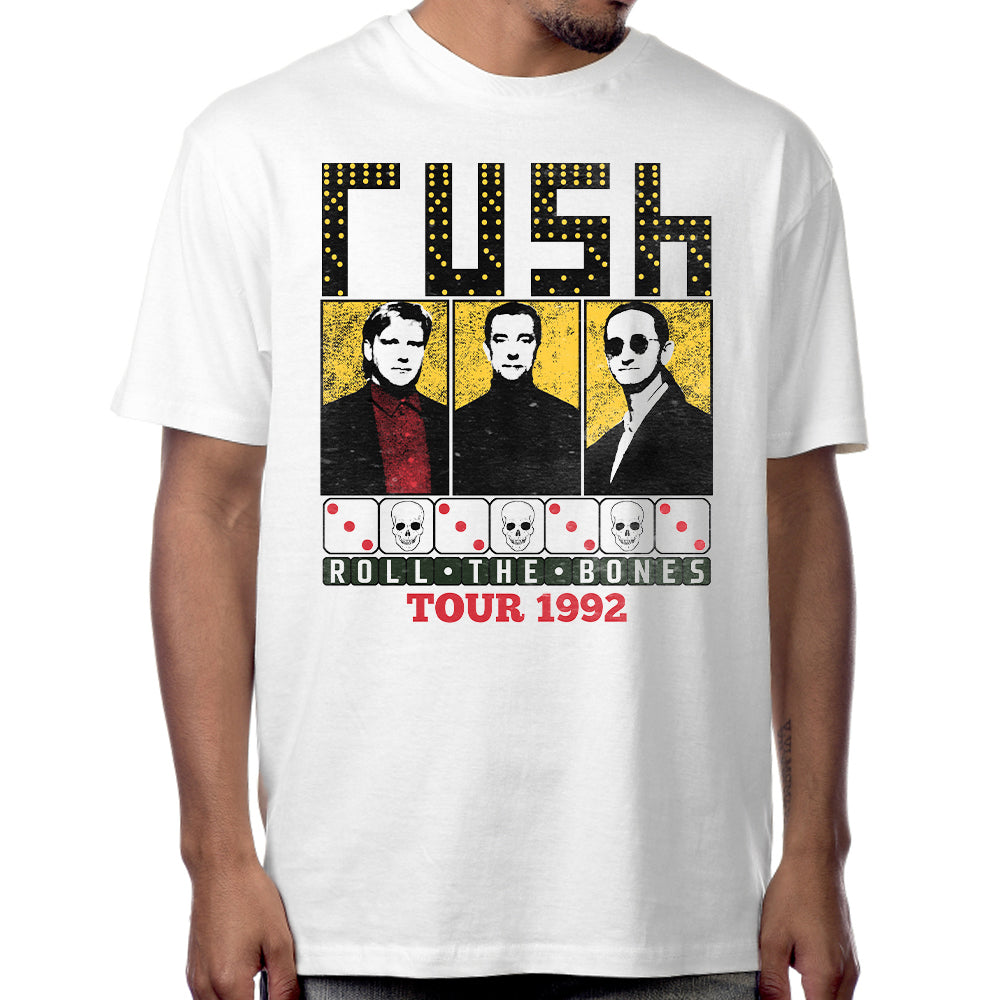 "Rush ""Roll the Bones"" T-Shirt in White"