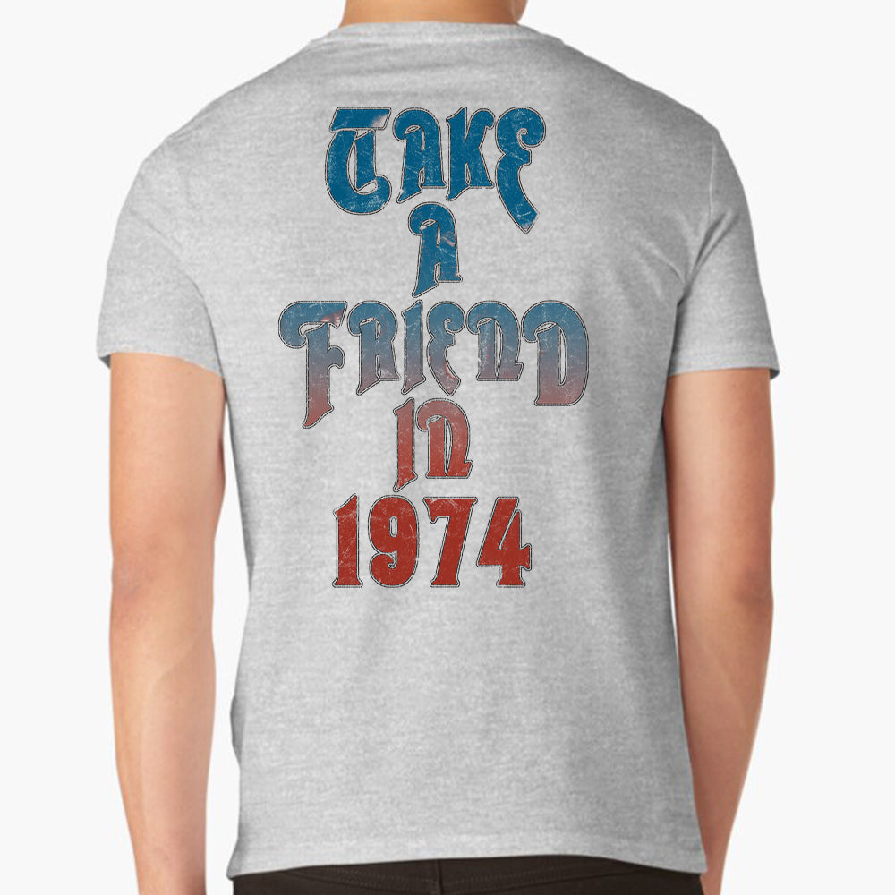 "Rush ""Take a Friend in 1974"" T-Shirt in Heather Grey"