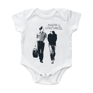 "Simon & Garfunkel ""Walking"" White Onesie"