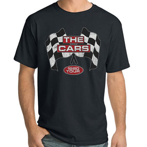 "The Cars ""1980 Tour"" T-Shirt with cars logo and racing flags"