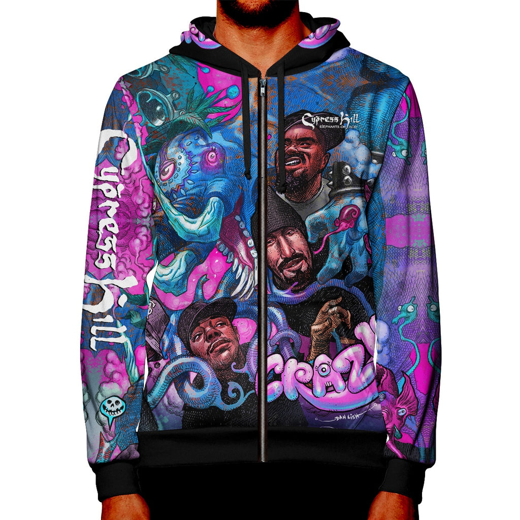 "Cypress Hill ""CRAZY"" Premium All Over Print Zipper Hoodie"