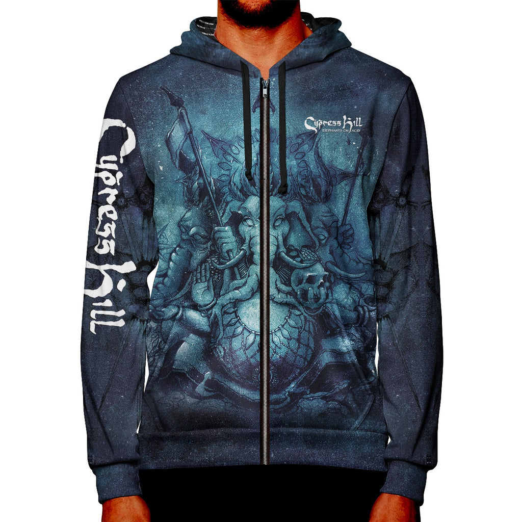 "Cypress Hill ""Elephants on Acid"" Premium All Over Print Zipper Hoodie"