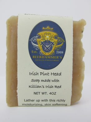 Irish Pint Head Beer Soap with Killians Red