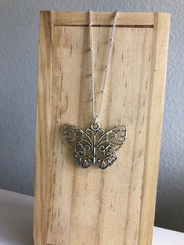 Butterfly Necklace , Sterling Silver Pendant Necklace, Silver Necklace