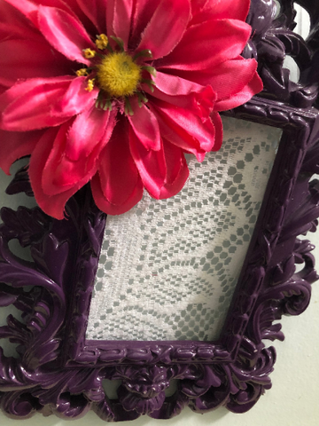 Purple Lace Framed Earring Holder, Small Frame, Jewelry Storage, Purple Picture Frame