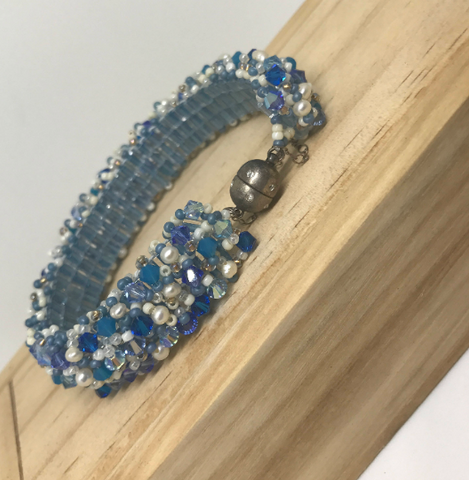 Blue and White Seed Bead Bracelet with Magnet Clasp