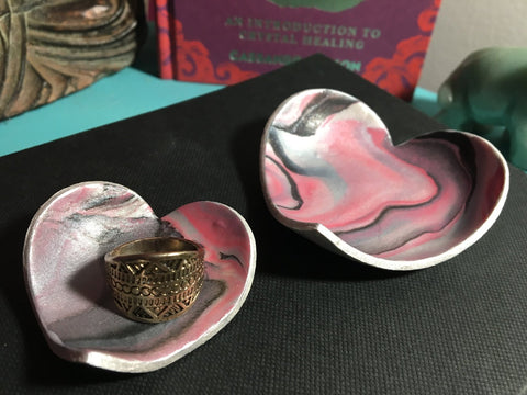 Heart Shaped Clay Jewelry Dish Set of 2, Ring Dish
