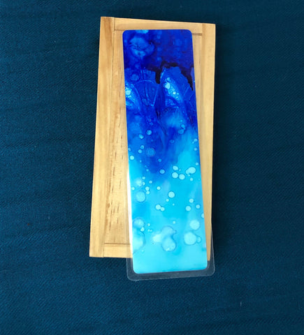Blue Ink Bookmark, Hand Painted Bookmark, Colorful Bookmark, Abstract Bookmark, Book Lovers Gift