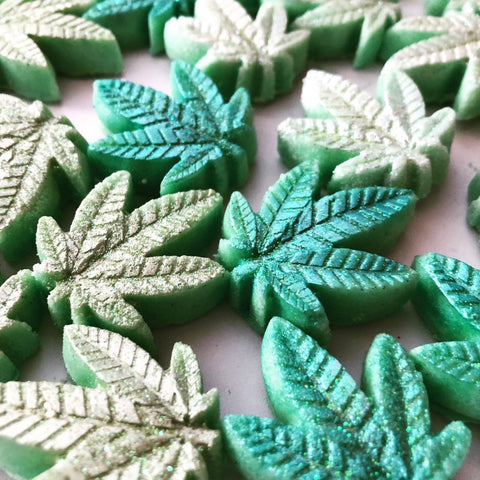 Handmade Spring Green Glitter Weed Leaf Shaped, Bath Bombs - Pack of 8
