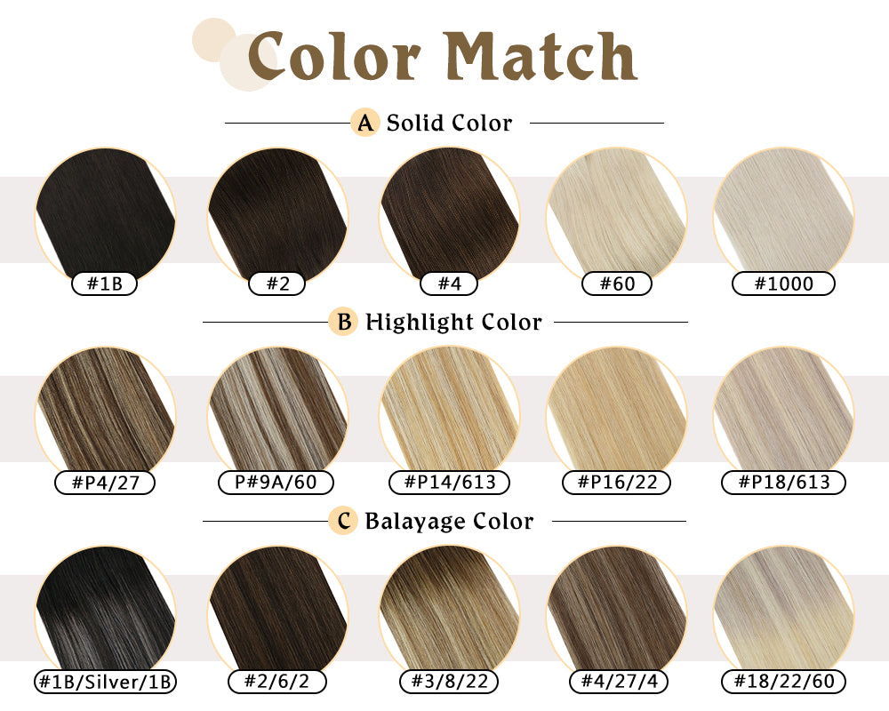 highlight color tape in human hair extensions