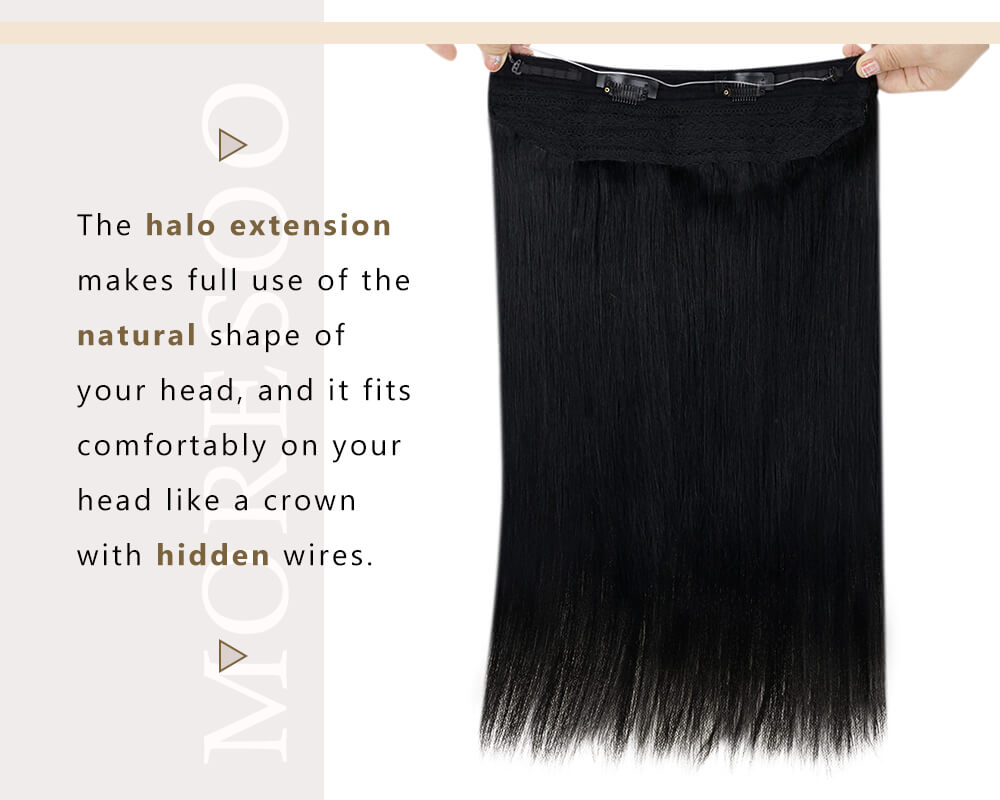 invisible wire halo human hair extensions
