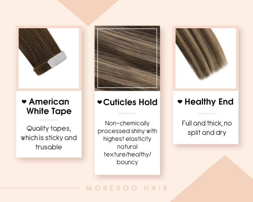 invisible seamless tape in virgin human hair