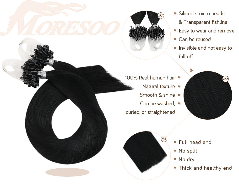 black micro ring pre bonded remy human hair extensions