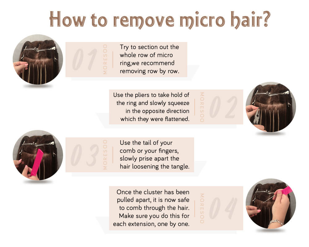 how to remove micro ring pre bonded remy human hair extensions