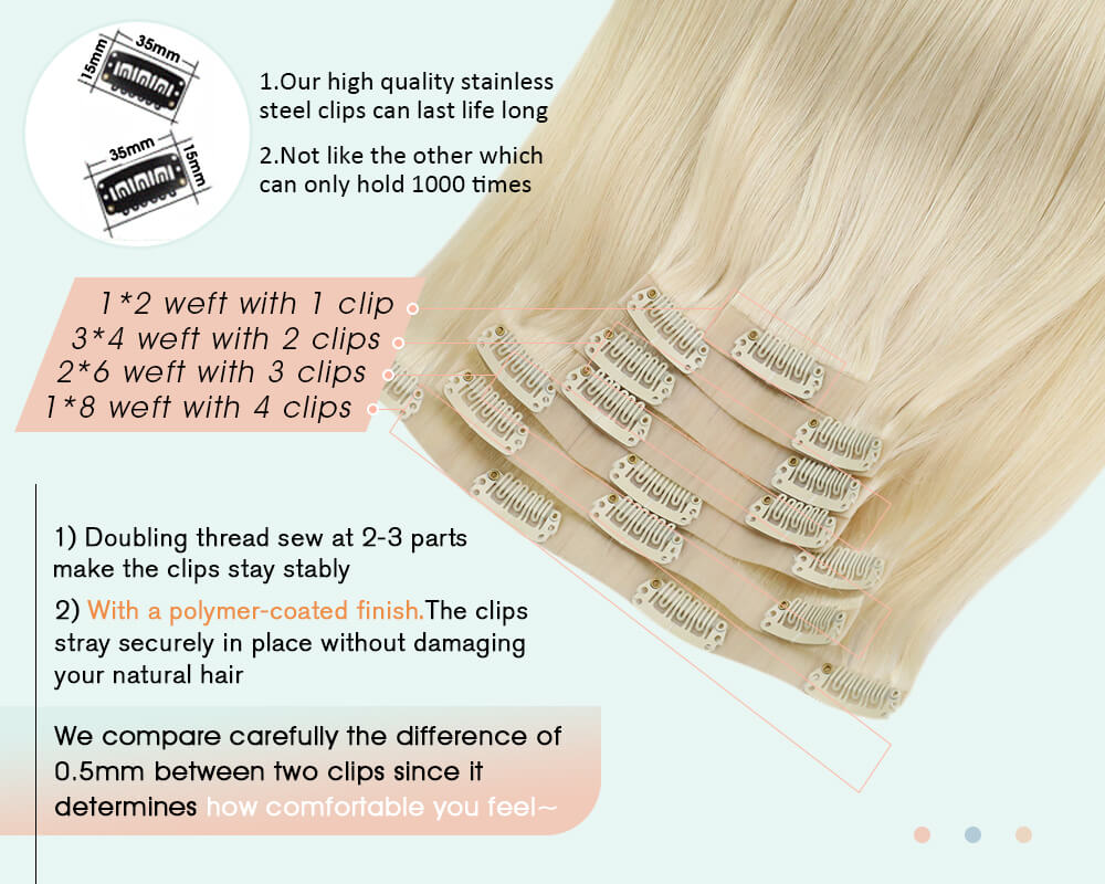 blonde pu clip in human hair extensions