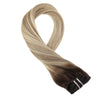 Moresoo 120g 9PCS Clip in Hair Brown #3 Fading to Brown #12 Mixed with Blonde #613(#3/12/613) - moresoo