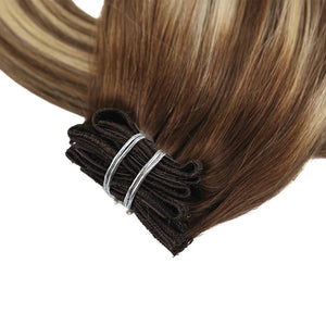 Moresoo 120g 9PCS Clip in Hair Brown #4 Fading to Brown #8 Highlighted with Blonde #22(#4/8/22) - moresoo
