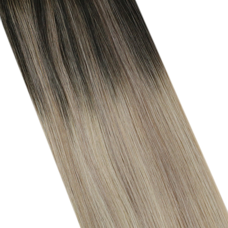 Clearance Moresoo Tape Extensions Balayage Human Hair Real Remy Tape in Hair Extension Tape in Hair Off Black #1B Fading to Ash Blonde #18 Mixed with Platinum Blonde #60(#1B/18/60)