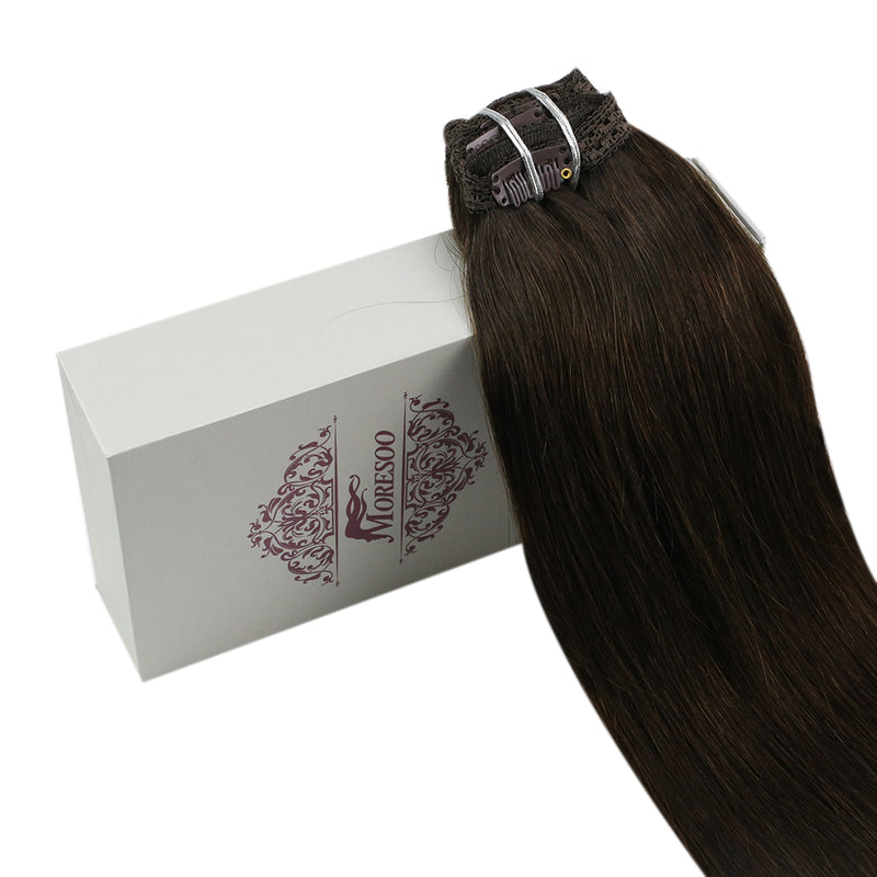 60% Off moresoo 100g Hair Clip In Darkest Brown #2 Brazilian Remy Human Hair Extension(#2)