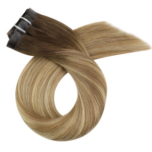 Moresoo 100g Hair PU Clip In Straight Balayage Brown #3 Fading to Light Brown #8 and Blonde #22(#3/8/22)