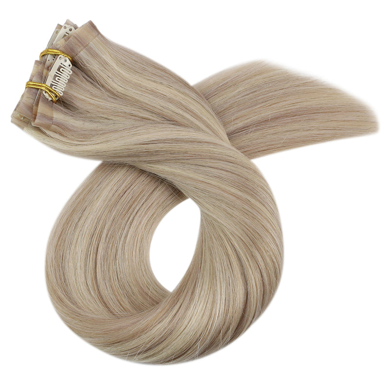 Moresoo 100g Hair PU Clip In Remy Human Hair Extension Blonde #18 Mixed with Blonde #613(#P18/613)