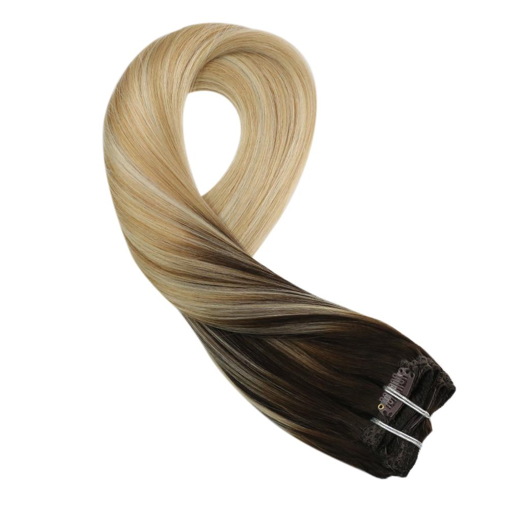 Moresoo 100g Hair Clip in Hair Extensions Brown #2 Fading to Blonde #27 Mixed Blonde #613(#2/27/613)