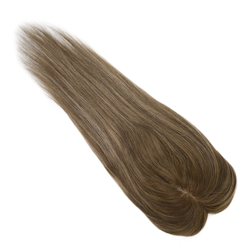 Moresoo Topper Hair Pieces Human Hair Remy Hair Toupee #4 Fading To Blonde #27 Mixed With Brown #4(#4/27/4)