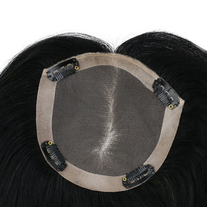 Moresoo Clip in Top Mono Topper Hairpieces Toupee Human Hair Jet Black #1(#1)