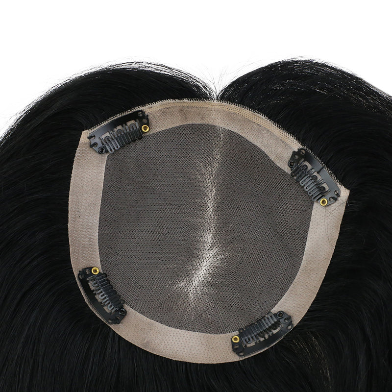 Moresoo Clip In Top Mono Topper Hairpieces Toupee Human Hair Extension Jet Black #1(#1)