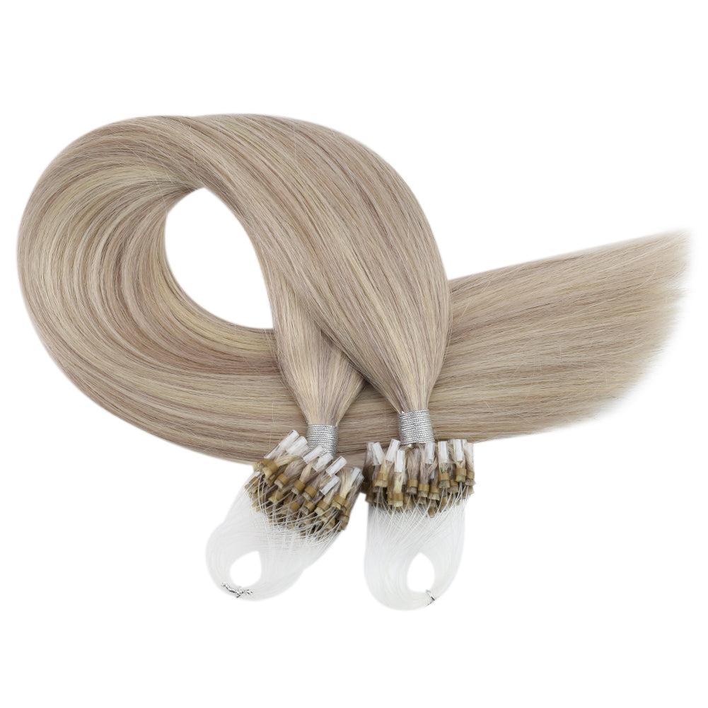 Moresoo Micro Loop Human Hair Extension Ash Blonde #18 Highlighted With Bleach Blonde #613(#P18/613)