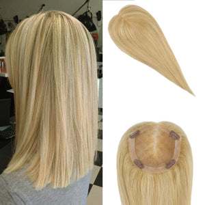 Moresoo Clip in Mono Topper 5*5 Cap Blonde #16 Highlightted with Blonde #22(#P16/22)