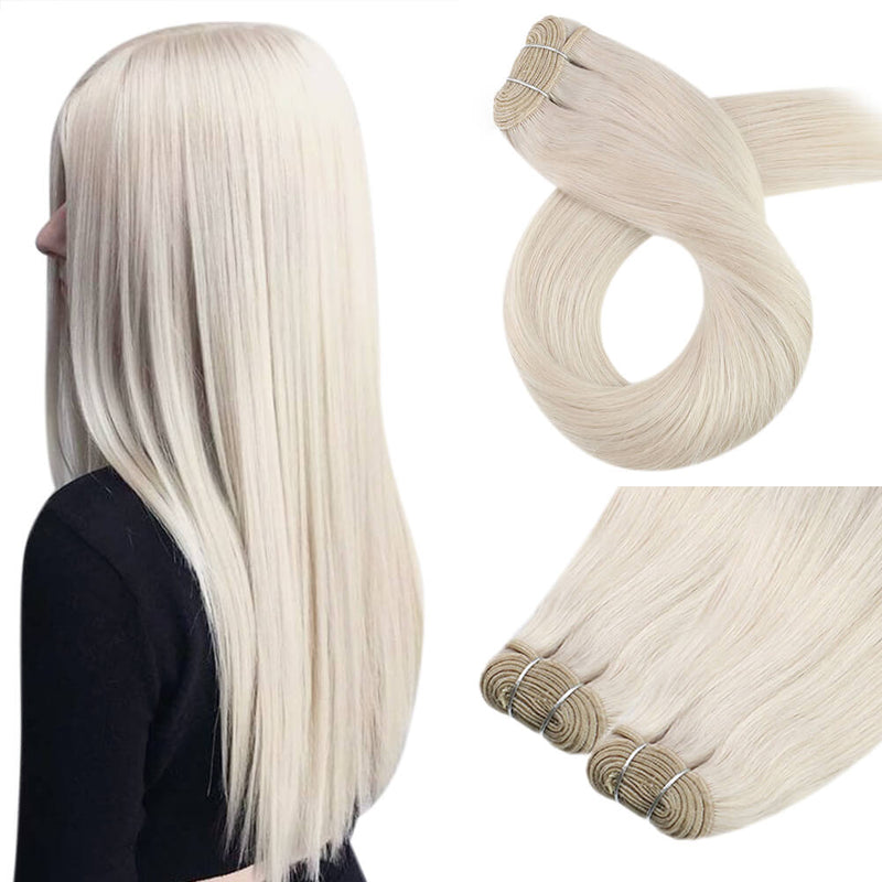 Virgin Sew In Hair Bundles Remy Human Weft Hair Extensions White Blonde Brazilian Hair Extension (