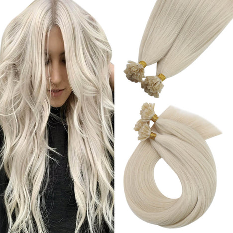 Virgin U Tip Brazilian Hair Extension Nail Tip Human Hair Extensions White Blonde (#1000)