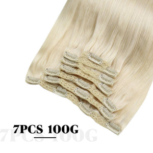 Moresoo 100g Hair Clip In Platinum Blonde #60 Brazilian Remy Human Hair Extension(#60)
