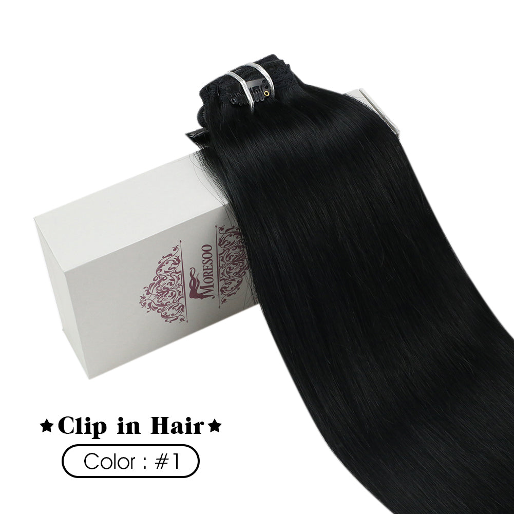 Moresoo 120g Clip in Kinky Straight Off Black #1B Brazilian Hair Extension(#1B Kinky Straight) - moresoo