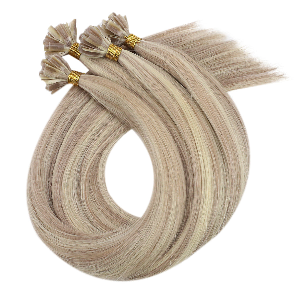 Virgin U Tip Human Hair Extension Kertain Hair Extension Highlight Blonde (#18P613)