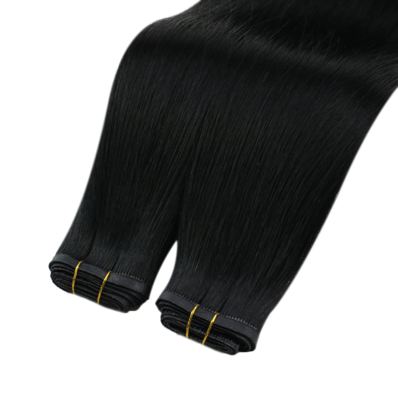 60% Off Virgin Hair Pu Weft Brazilian Sew In Pu Weft Human Hair Bundles Jet Black (