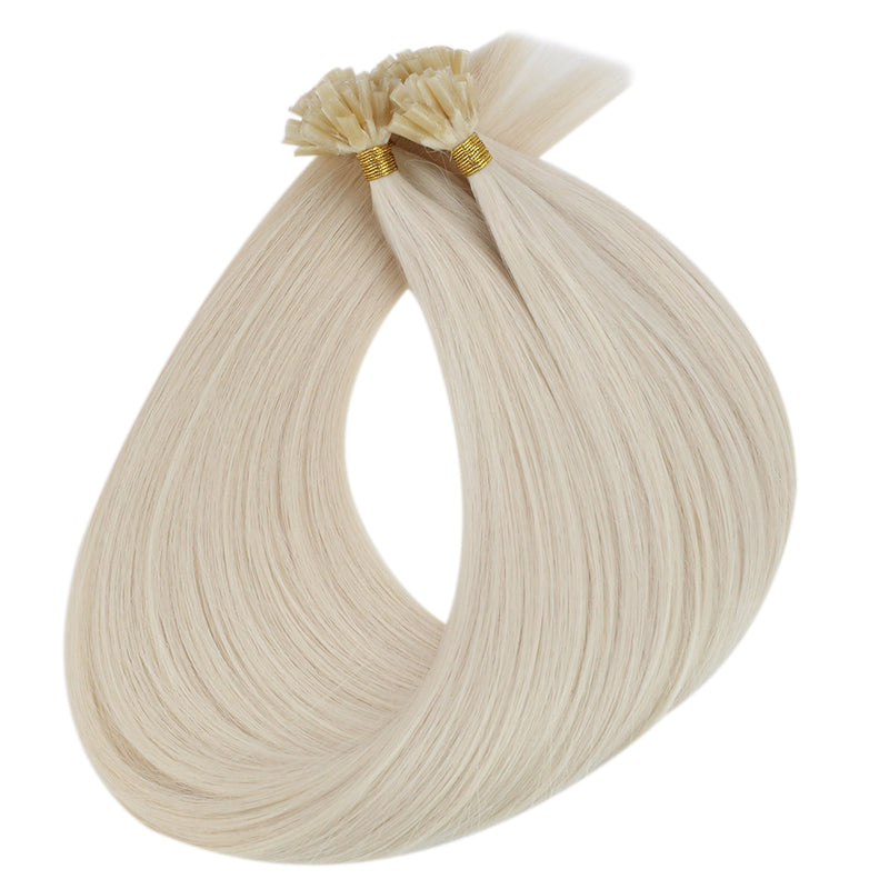 Virgin U Tip Raw Human Hair Kertain Extension High Quality Hair Platinum Blonde (