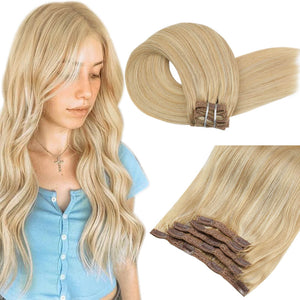 Moresoo 100g Hair Clip in Brazilian Hair Extension Golden Blonde #16 Highlighted with Blonde #22(#P16/22)