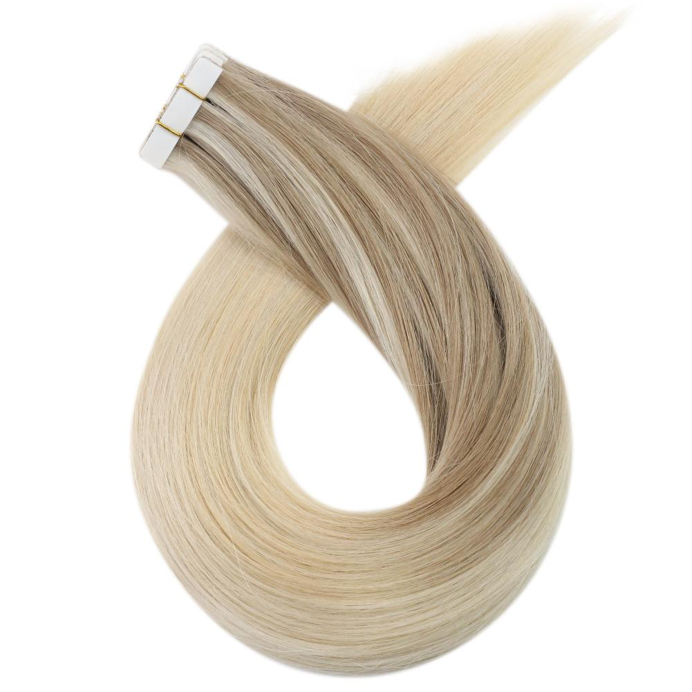 Moresoo Virgin Seamless Injection Tape Hair Brazilian Virgin Injected Hair Extensions Balayage Blonde(#18/22/60)