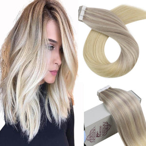 Moresoo 25g Tape in Hair Virgin Blonde #18 Fading to Blonde #22 and Blonde #60(#18/22/60)