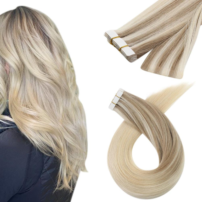Moresoo Virgin Seamless Injection Tape Hair Brazilian Virgin Injected Hair Extensions Balayage Blonde(